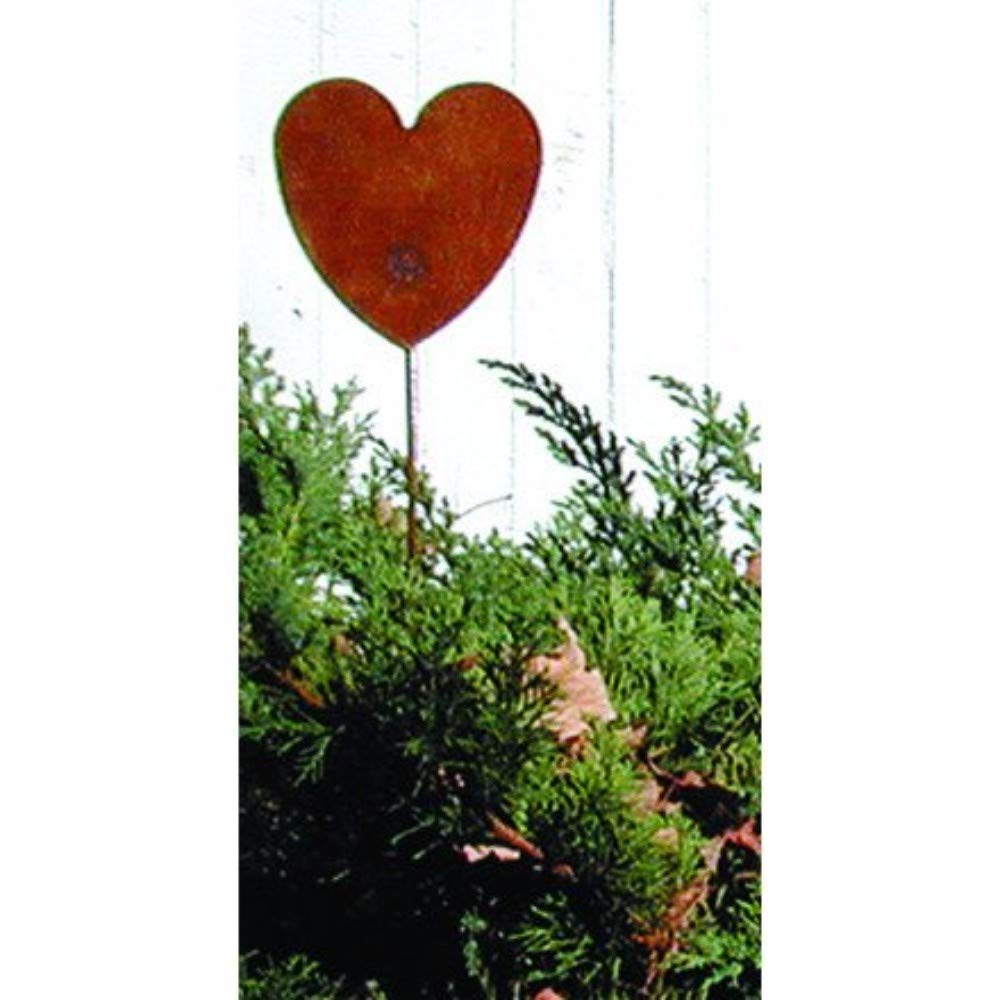 35 Inch Heart Rusted Garden Stake