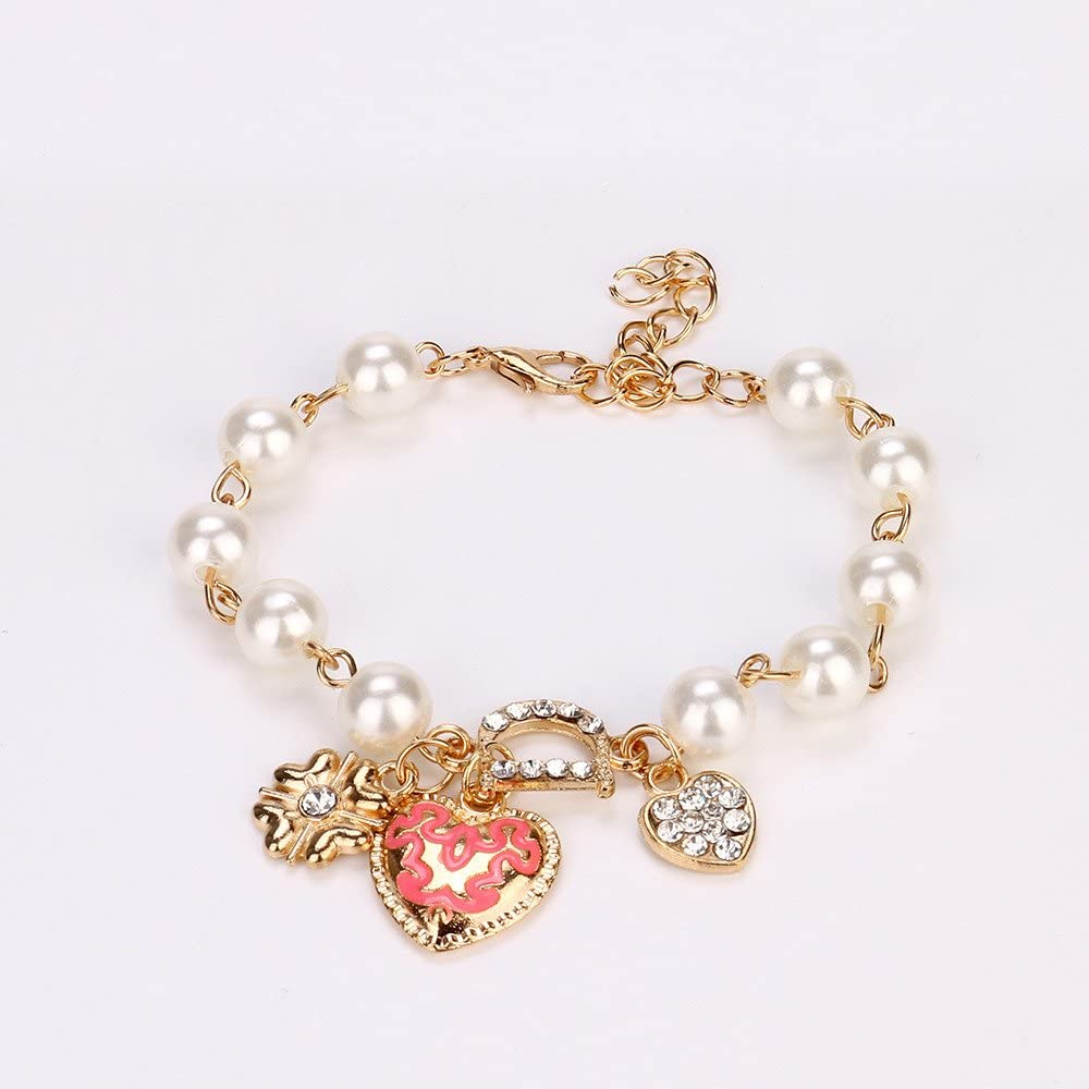 FiedFikt Pulsera de Moda para Mujeres y niñas con Perlas y corazón ...