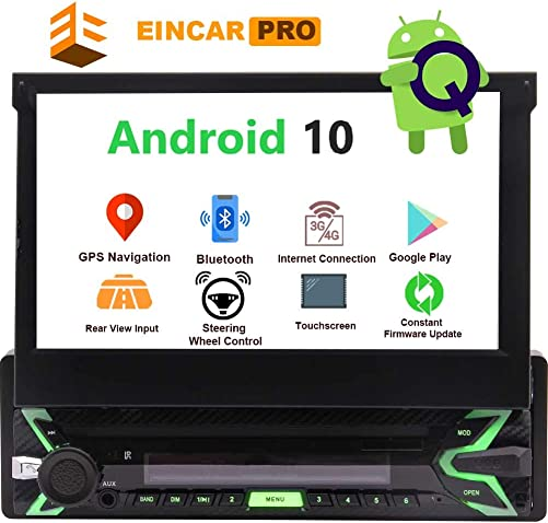 Single Din Car Stereo Bluetooth Flip Out Touch Screen 1 Din Radio Android 10 GPS Navigation 7 1GB 32GB DVD Player Detachable Indash Head Unit Support Screen Mirror Link Backup Camera View EQ Mode