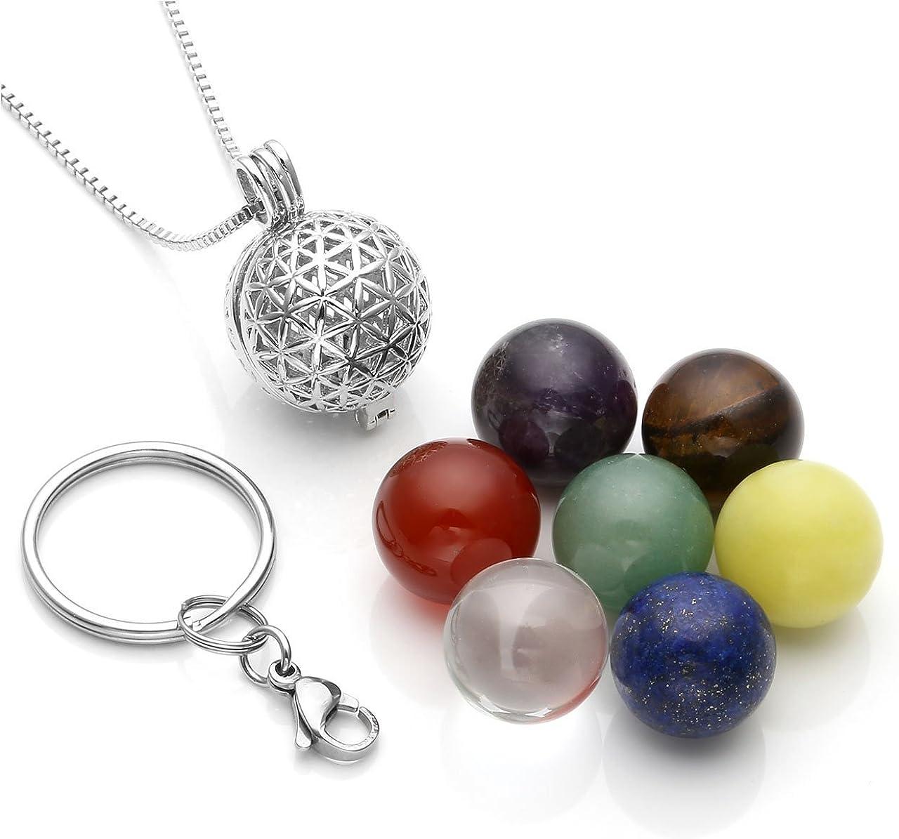 CrystalTears - Collar con colgante de bola de piedra natural de cinco colores a la moda con brillantes incrustados para mujer y hombre