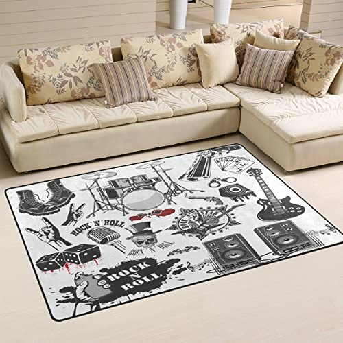 LORVIES Symbols Related to Rock and Roll Area Rug Carpet Non-Slip Floor Mat Doormat