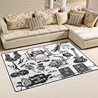 LORVIES Symbols Related To Rock And Roll Area Rug Carpet Non-Slip Floor Mat Doormats for Living Room Bedroom 60 x 39 inches
