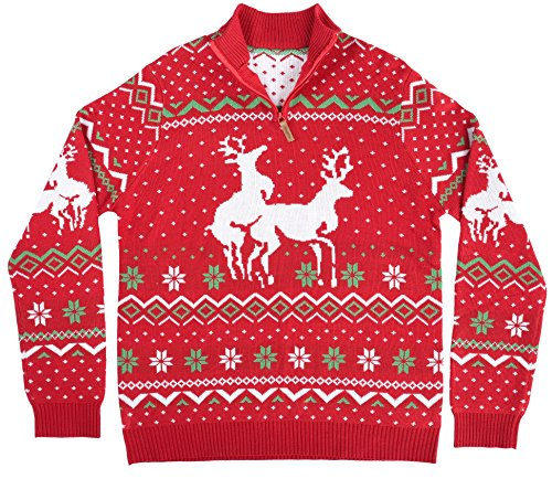 6eaa9ea7f Tipsy Elves Men s Christmas Climax Sweater - Funny Humping Reindeer ...