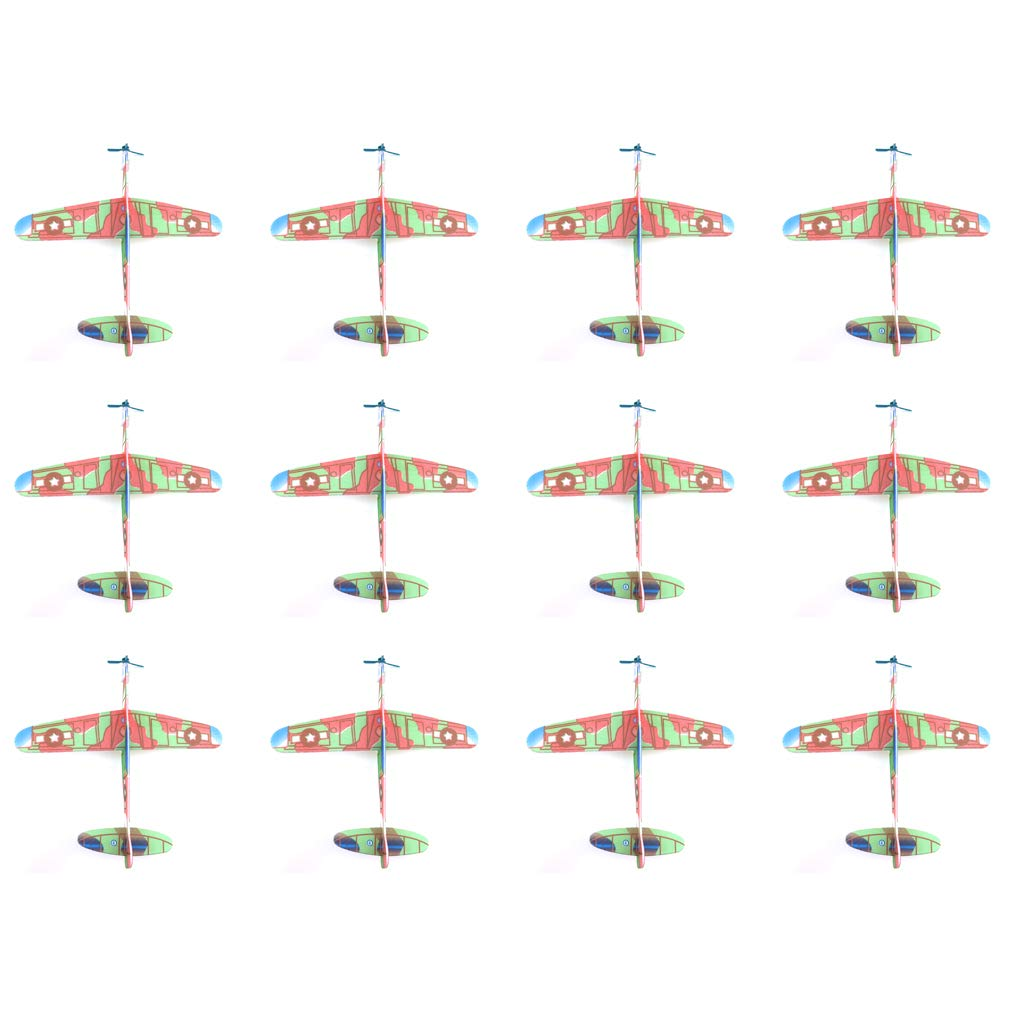 hoxin 12Pack Mini Foam Handmade Throwing Flying Airplane Glider Assembly Model Kids DIY Toy