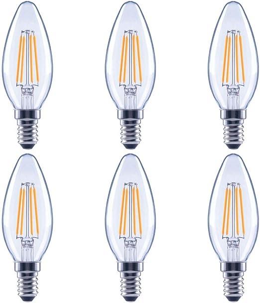 Asencia An 03675 60 Watt Equivalent B11 All Glass Vintage Filament Dimmable Led Light Bulb E12 Candelabra Base 6 Pack Soft White 2700k Amazon Com
