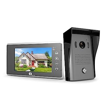 1byone Video-Türsprechanlage mit 2-Draht-Videogegensprechanlage, 7 ...