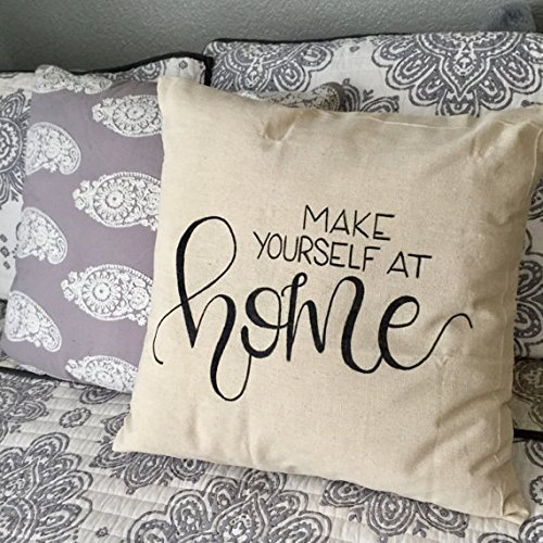 Make Yourself at Home Pillow Cover, entryway decor, Entry pillowcase, entryway pillow cover, guest room pillow cover, home, guest room pillow cover, 16x16 (Faux Blush Butterfly Chair Fur)