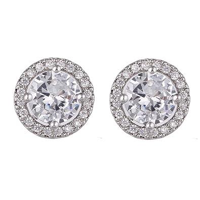 0026d2a9c457 SUMMER LOVE 12mm Round Cubic Zirconia Halo Stud Earrings For Women Wedding Studs  Diamond Earrings Fashion