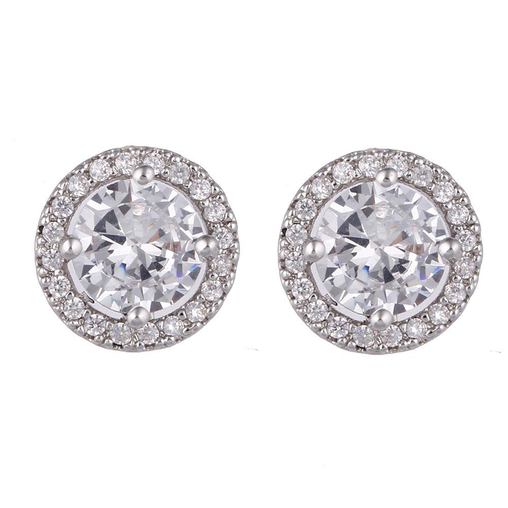 SUMMER LOVE 12mm Round Cubic Zirconia Halo Stud Earrings For Women Wedding Studs Diamond Earrings Fashion Gift