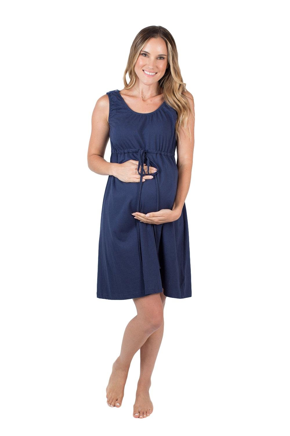 Baby Be Mine 3 in 1 Labor/Delivery/Nursing Hospital Gown Maternity, Hospital Bag Must Have (S/M, Navy Blue)