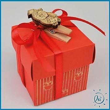 6 piezas Caja para dulces roja de cartón con búho + Confetti Crispo Incluye | Bomboniere y confettate originales y duraderas: Amazon.es: Hogar