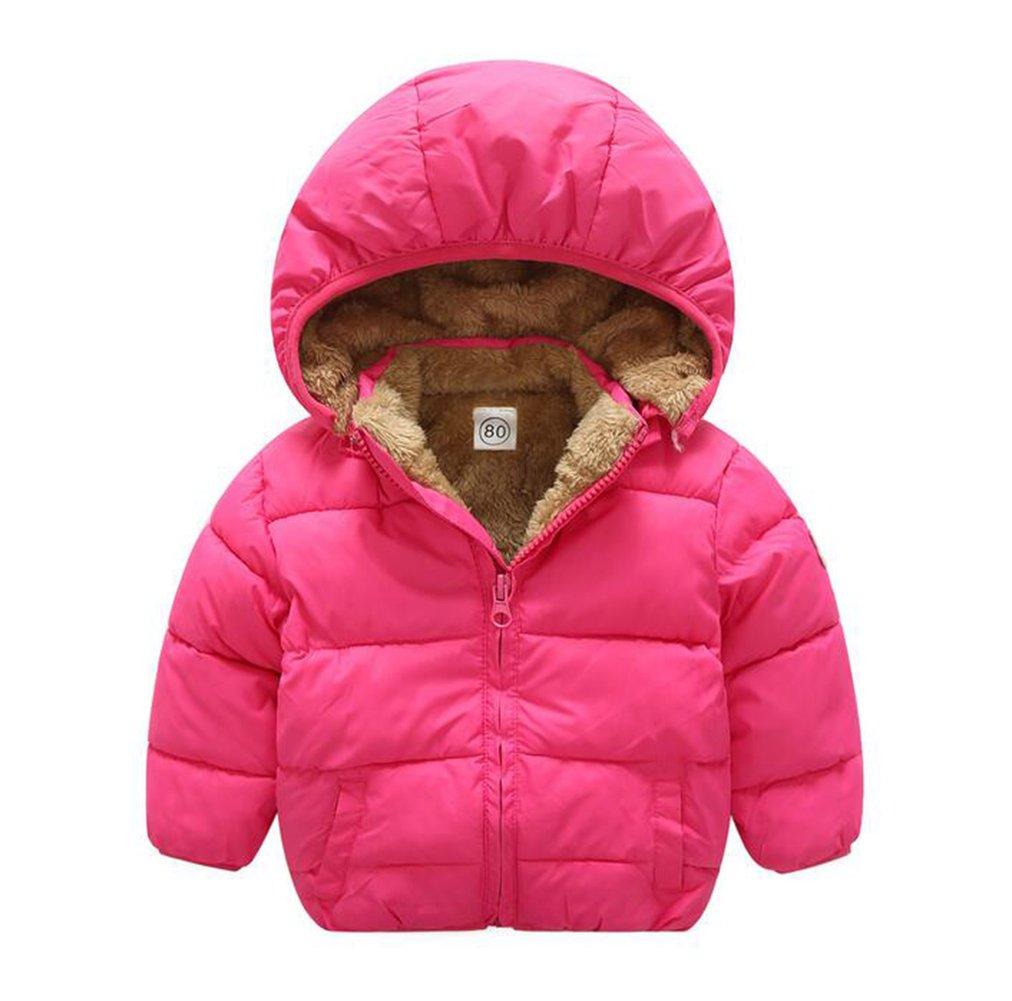 Baby Boys Girls Winter Puffer Coat Unisex Kids Fleece Lined Jacket Hoodies Warm Outwear Overcoat Rose 80