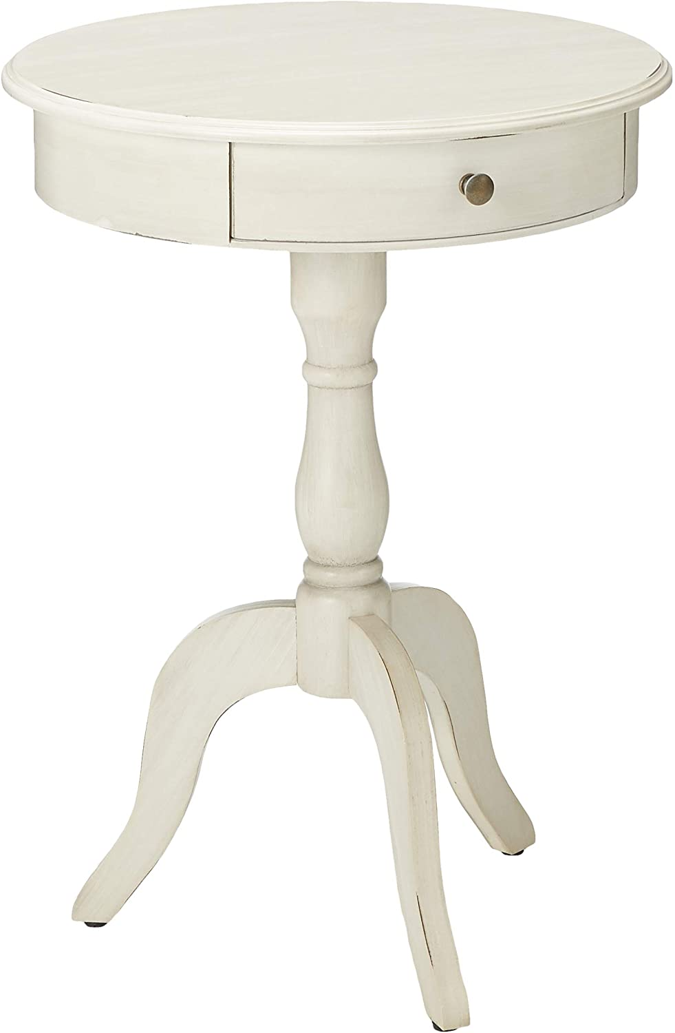 Amazon Com Décor Therapy Pedestal Table With Drawer Antique White Furniture Decor