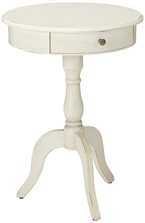 Décor Therapy Pedestal Table with Drawer, Antique White