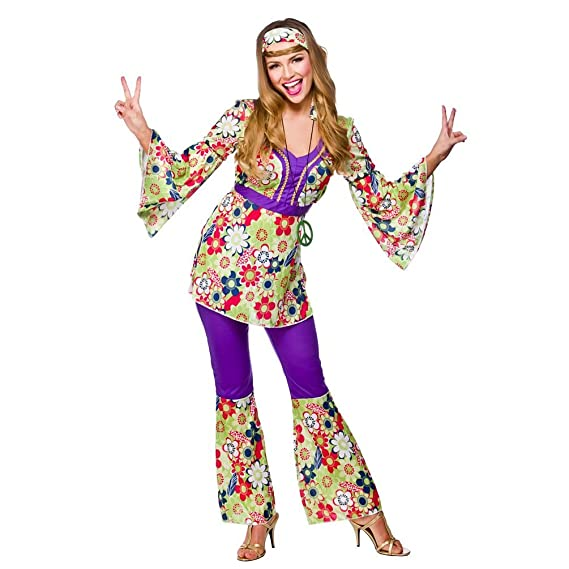 8efed09ecb3e Ladies Womens Hippie Hippy Fancy Dress Costume 60S 70S Groovy Flower Power  Outfi  Amazon.co.uk  Clothing