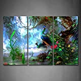 Artistic Peacocks In Forest Grass Flower River Wall Art Painting The Picture Print On Canvas Animal Pictures For Home Decor Decoration Gift
