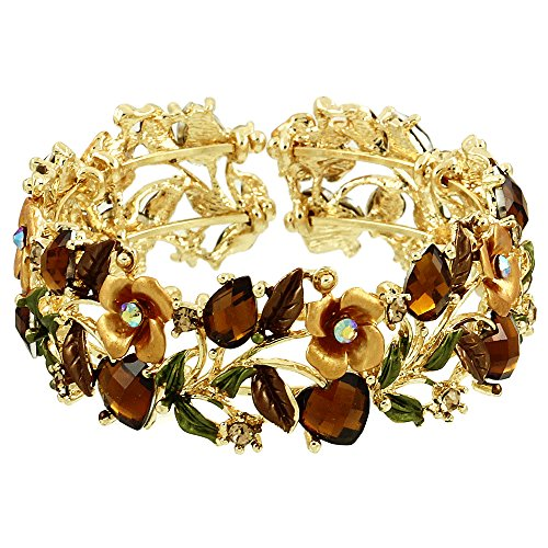 Falari Vintage Flower Bracelet Bangle Crystal Beads Hand-Painted Brown BG401-GBN