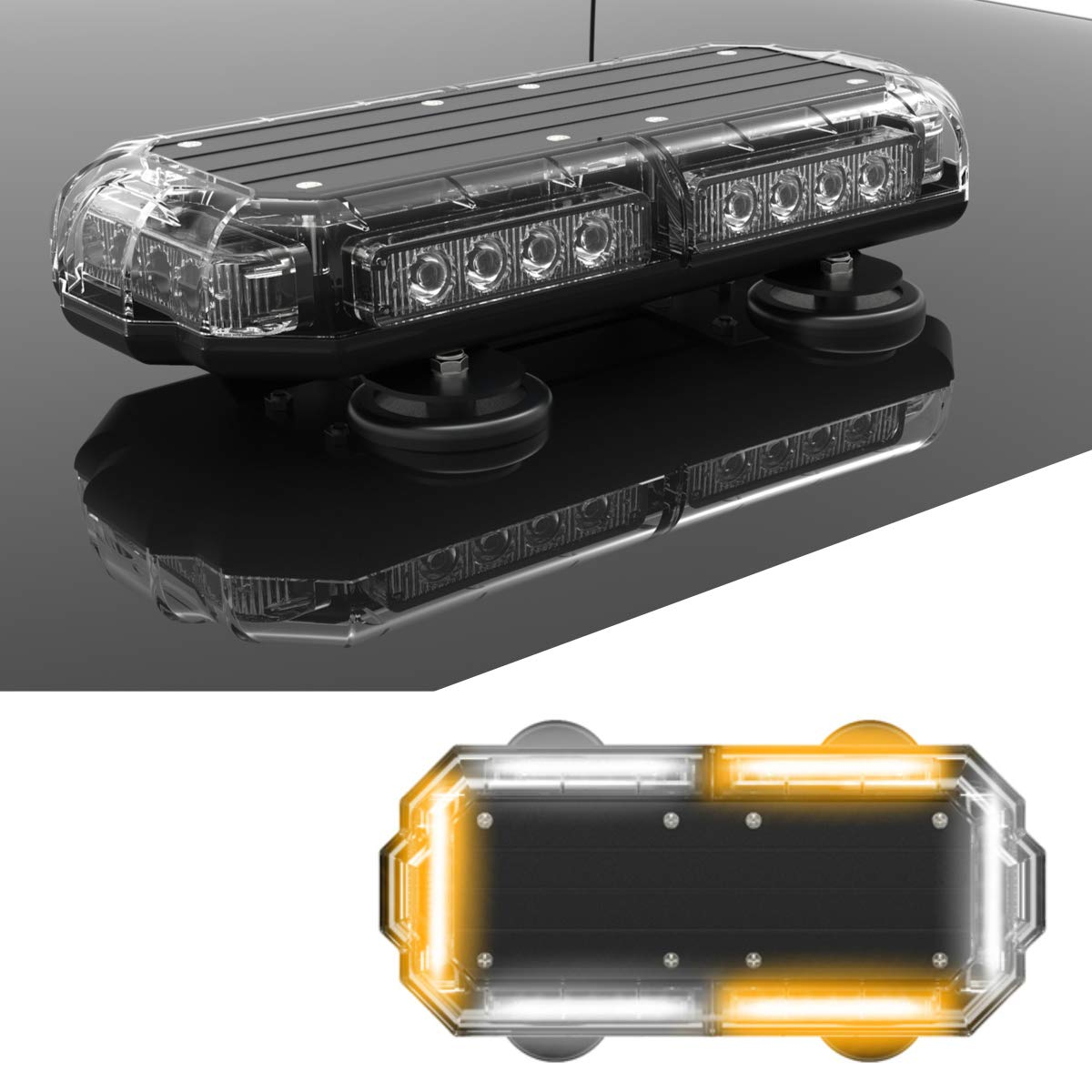 Cars Plows Red//Yellow and Emergency Vehicles with Magnetic Roof Mount in Alternating Red//Amber SpeedTech Lights Mini 14 72 Watts LED Strobe Lights for Trucks