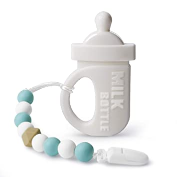Silicone Feeding Bottle Teether by Pandamelon Baby Teether with Pacifier Clip Holder Kit to Effective Teething Relief for Infants BPA Free Teething Toys Baby Shower Gifts for Boys and Girls