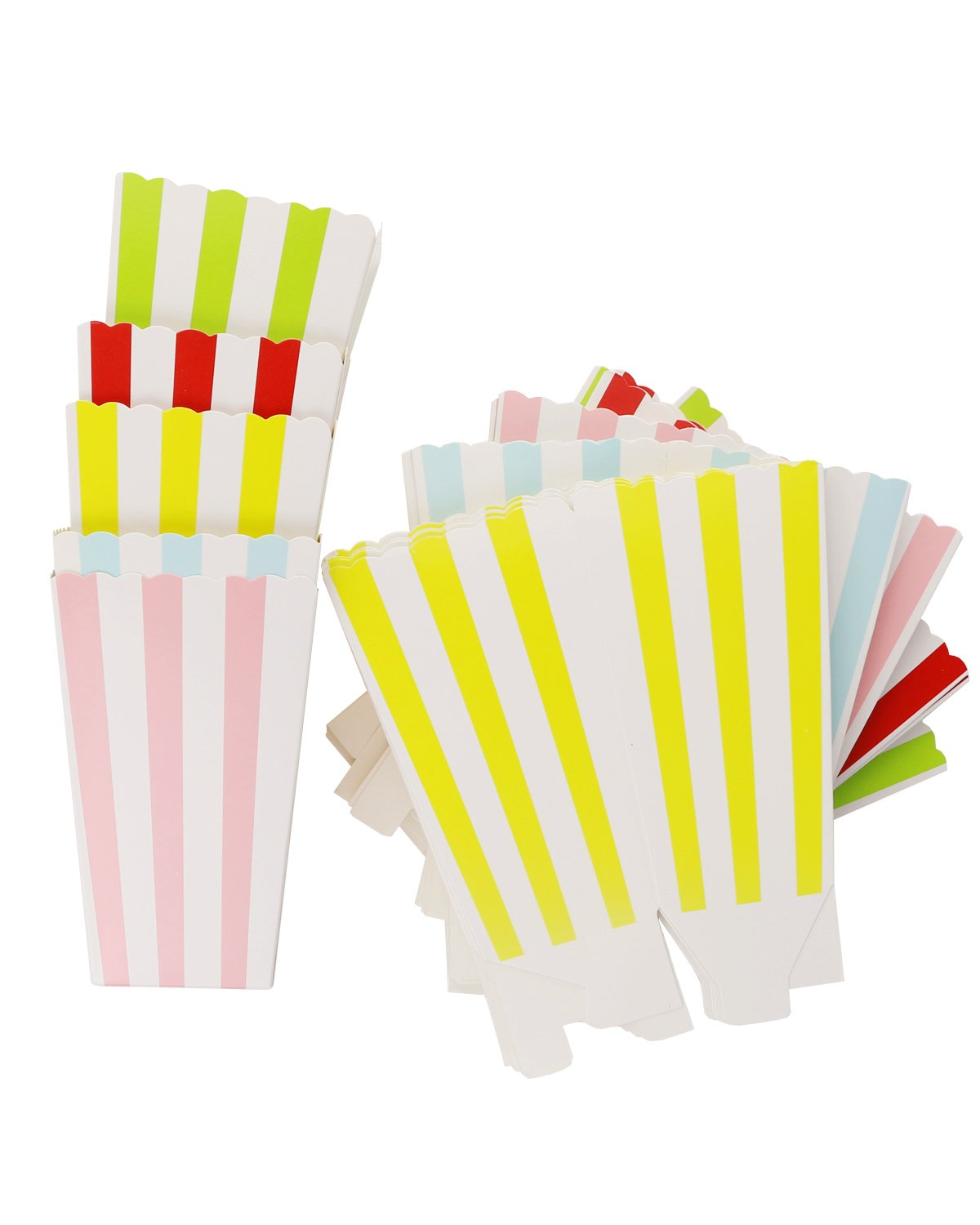 PRALB 60 Pack Popcorn Boxes Cardboard Snack Bowl Candy Container,Sweet Striped for Carnival,Party,Movie,Fiesta