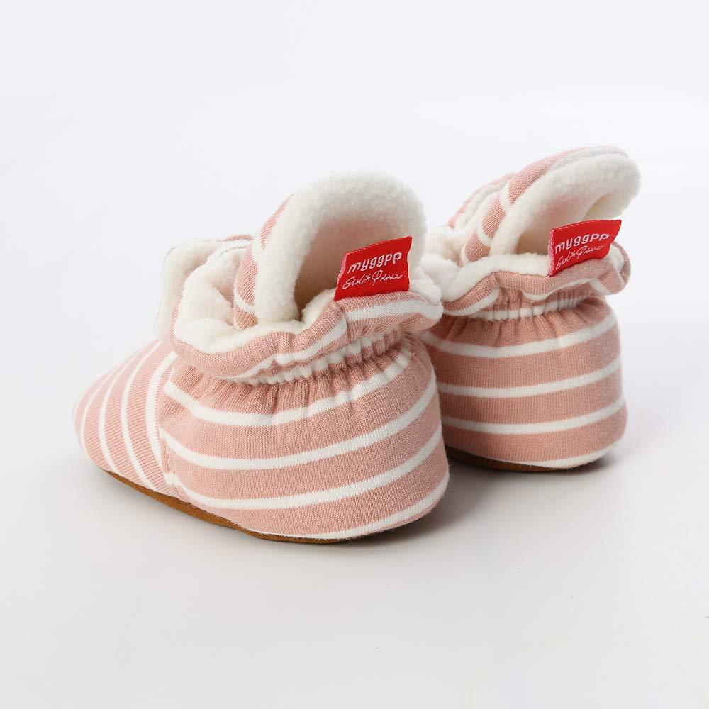 Baby Boy Girl Fleece Booties Newborn Cozy Winter Warm Socks Toddler Non-Slip Soft Sole Crib Shoes