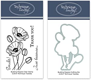 Budding Poppies Clear Stamps with Matching Metal Dies | Flowers Rubber Stamps | Clear Rubber Stamps | Photopolymer Stamps | Die Cuts | Craft Dies | Card Making Supplies