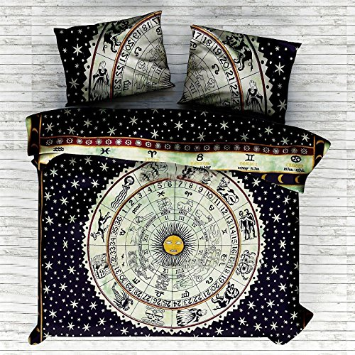 - NEW Indian Zodiac Sign Astrology Doona Duvet Comforter Cover Horoscope With 2 Pillow By Sugun Creation Full Size (80x82 inches)
