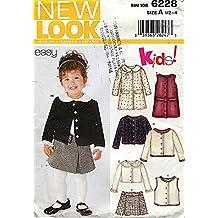 New Look Pattern 6228 Girls' Dress,Top, Jumper, Skirt and Belt, Size 1/2 - 4