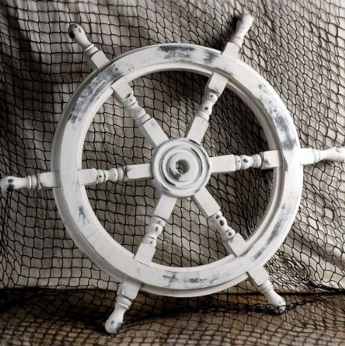 Nautical Handcrafted Wooden Ship Wheel - Home Wall Decor - Nagina International (24 Inches, Antique )