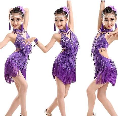 peiwen Vestido con Flecos de Lentejuelas púrpuras de niña ...