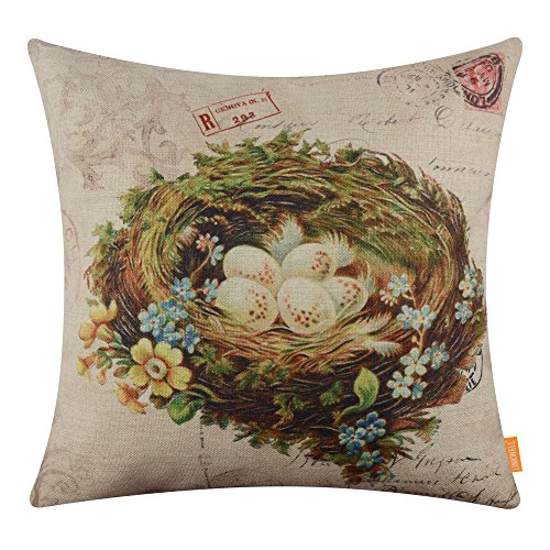 Postcard Photo Easter (LINKWELL 18x18 inches Vintage Bird Nest Burlap Throw Pillow Cover Cushion Cover (CC1359))