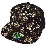 Rose Foil Printed 100% suede cotton Snapback Flat Bill Cap Baseball Hat AYO1023 (HALF ROSE)