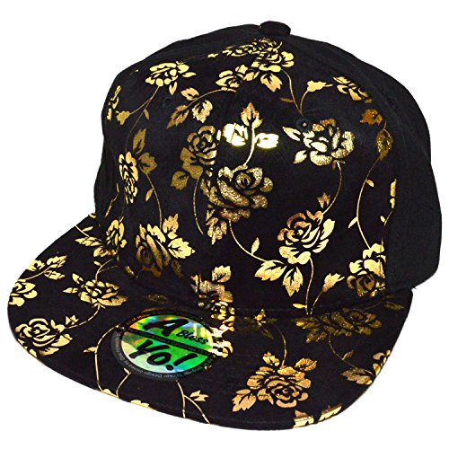 Rose Foil Printed 100% suede cotton Snapback Flat Bill Cap Baseball Hat AYO1023 (HALF ROSE) by AblessYo !