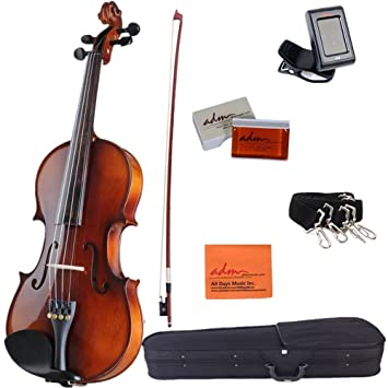 Amazon.com: ADM Acoustic Violin 4/4 Full Size Handmade Wooden ...