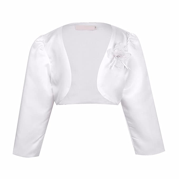 Freebily Kids Girls Long Sleeves Bolero Jacket Shrug Short Cardigan Sweater Dress Cover Up 7-8, White