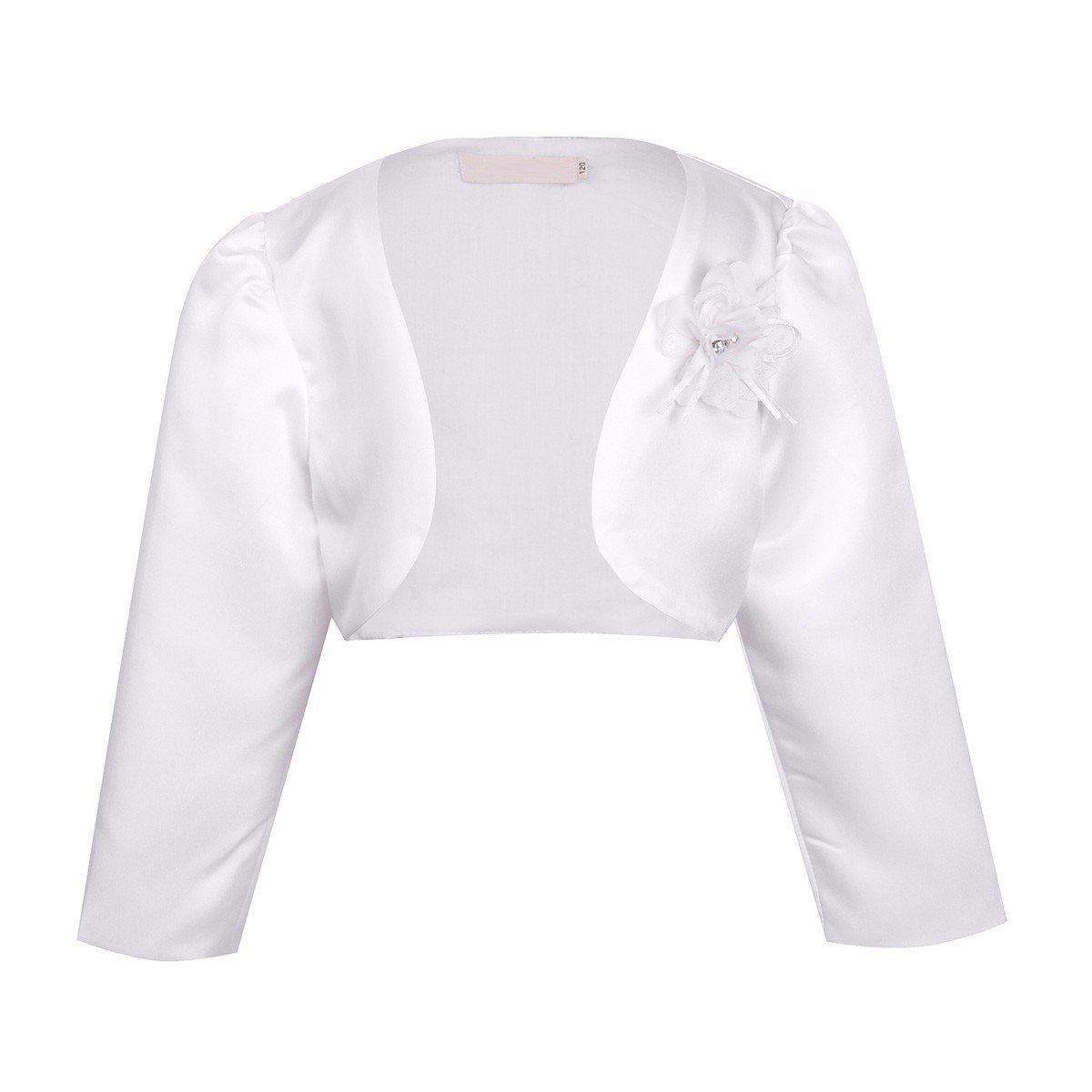 Freebily Kids Girls Long Sleeves Bolero Jacket Shrug Short Cardigan Sweater Dress Cover up Ivory 3-4