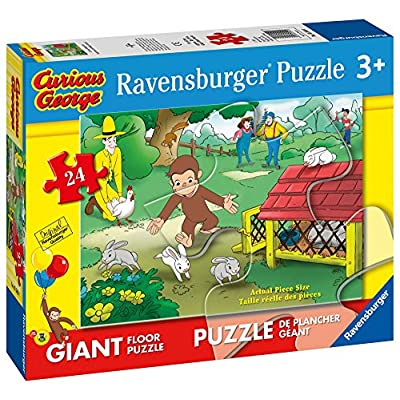 Ravensburger Curious George: Fun Giant Floor Puzzle (24 Piece): Toys & Games