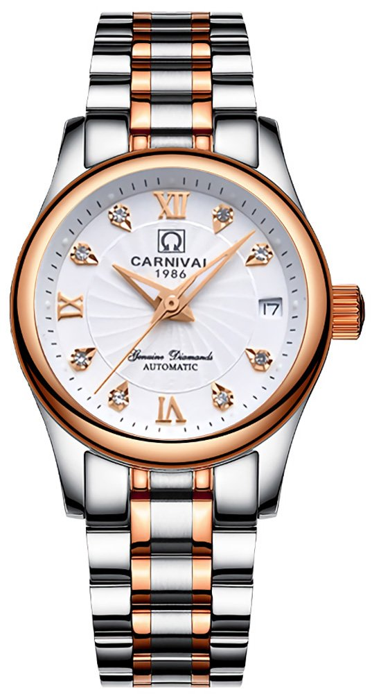 CARNIVAL Women's Automatic Mechanical Watch Fashion Rose Gold Dress (White)