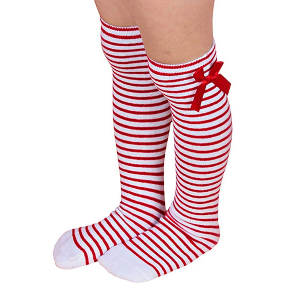 Haresle Girls Kids Knee High Socks Striped Long Socks with Bowknot (Red + White) by Haresle (Image #1)