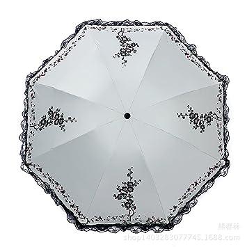 ENCOCO Paraguas para mujer, paraguas de encaje, sombrilla antisol, paraguas con protección UV