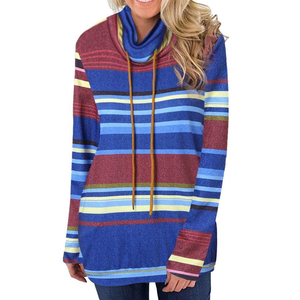 Anxinke Women Autumn Fashion Stripes Long Sleeve Hoodies Drawstring Sweatshirts (L, Blue)