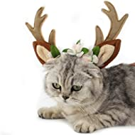 FLAdorepet Dog Elk Antler Reindeer Hat Cap Dog Cat Pet Christmas Costume Outfits Small Big Dog Hat Headwear Hair Grooming Accessories