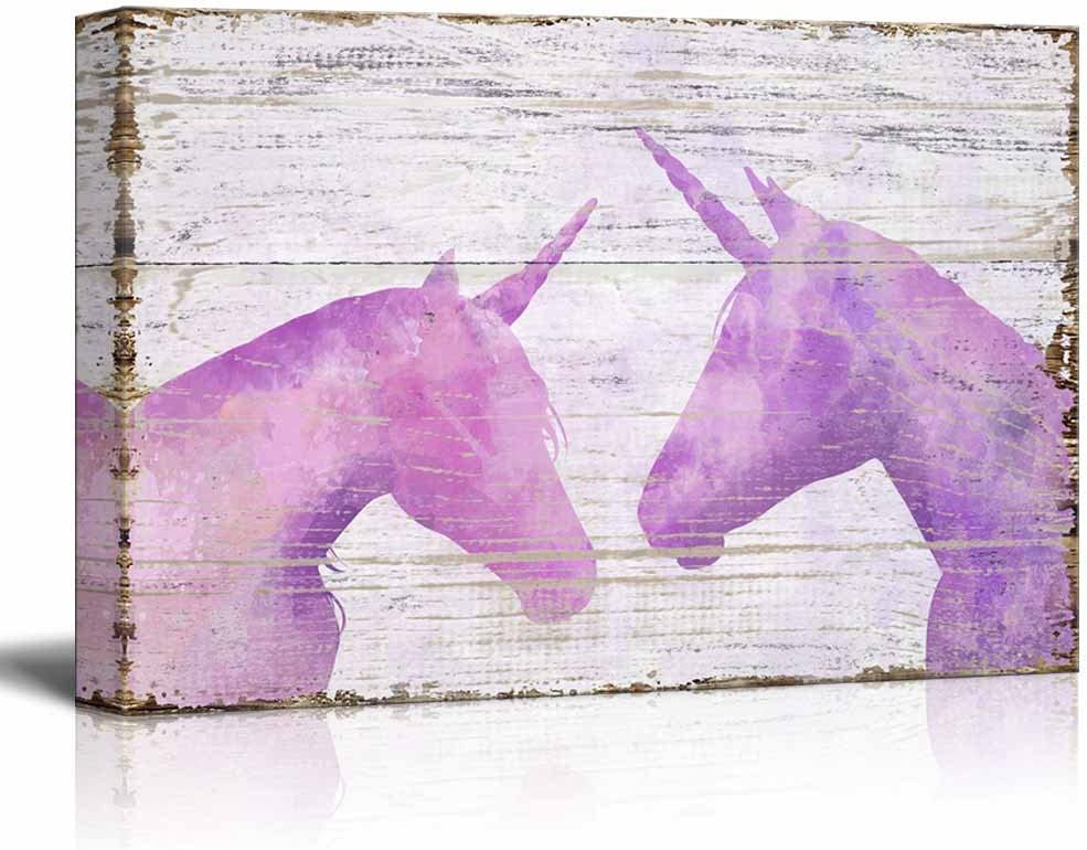 "wall26 - Vintage Style Canvas Wall Art - Pink Unicorn on Wooden Background - Giclee Print Stretched Gallery Wrap | Modern Home Art Ready to Hang - 16"" x 24"""