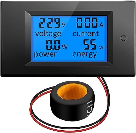 Imagen deKKmoon Voltímetro de corriente LCD digital Amperímetro Voltaje KWh Multímetro Medidor de prueba 100A AC 80V-260V 20A / 100A 4 en 1 Panel Monitor de vatios de potencia digital