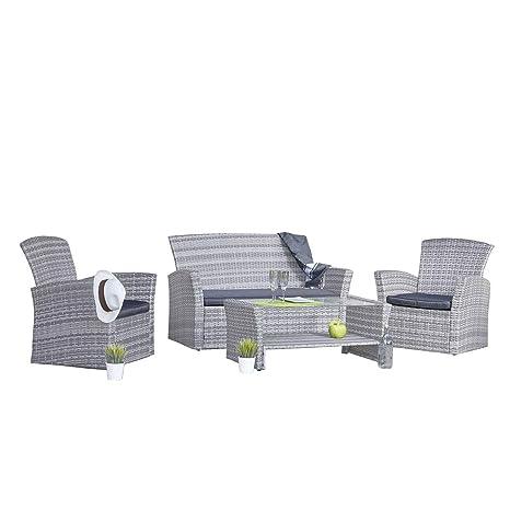 Ozalide Salón de jardín Rio 1 sofá + 2 sillones + Mesa Baja ...