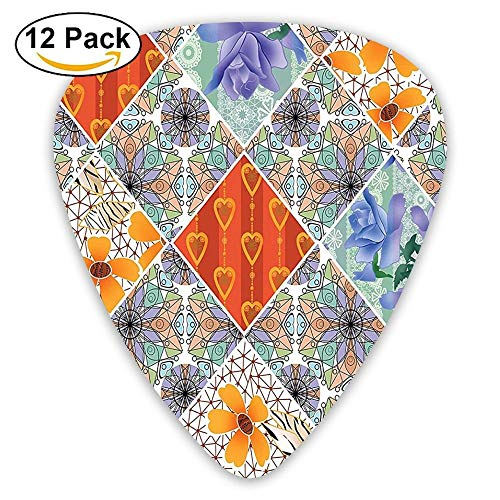 Patchwork With Heart And Swirling Flower Pattern With Folkloric Feminine Details Guitar Picks 12/Pack Set