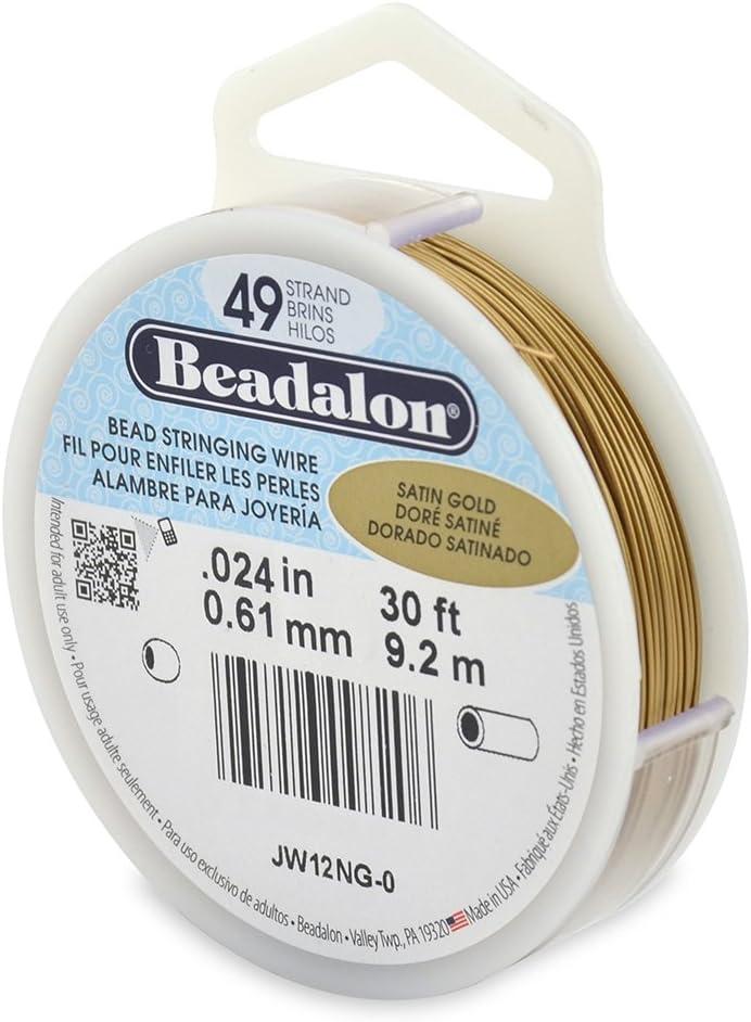 30-Feet Beadalon 49-Strand Bead Stringing Wire Gold Color 0.024-Inch