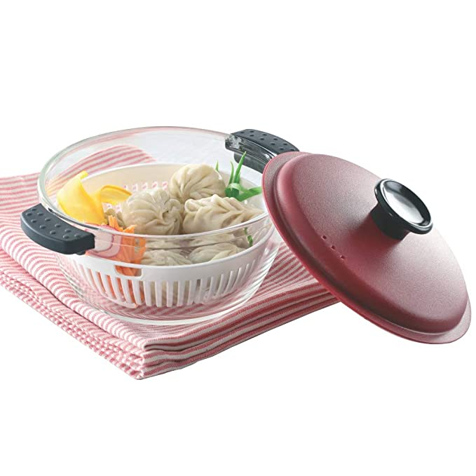 Borosil Glass Casserole   Oven and Microwave Safe Serving Bowl with Steamer, 1L Serving Casseroles   Tureens