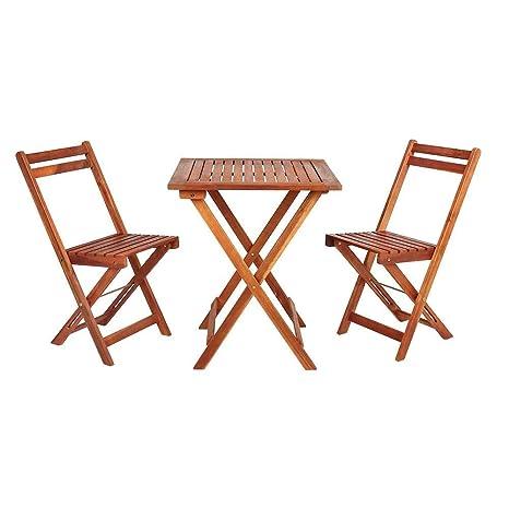 Wido - Juego de 3 sillas Plegables de Madera para jardín ...