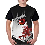 Curtis J Donofrio Hell Girl-Enma Ai Anime Cartoon Print Comfortable T-Shirt Short Sleeve Shirt for Men